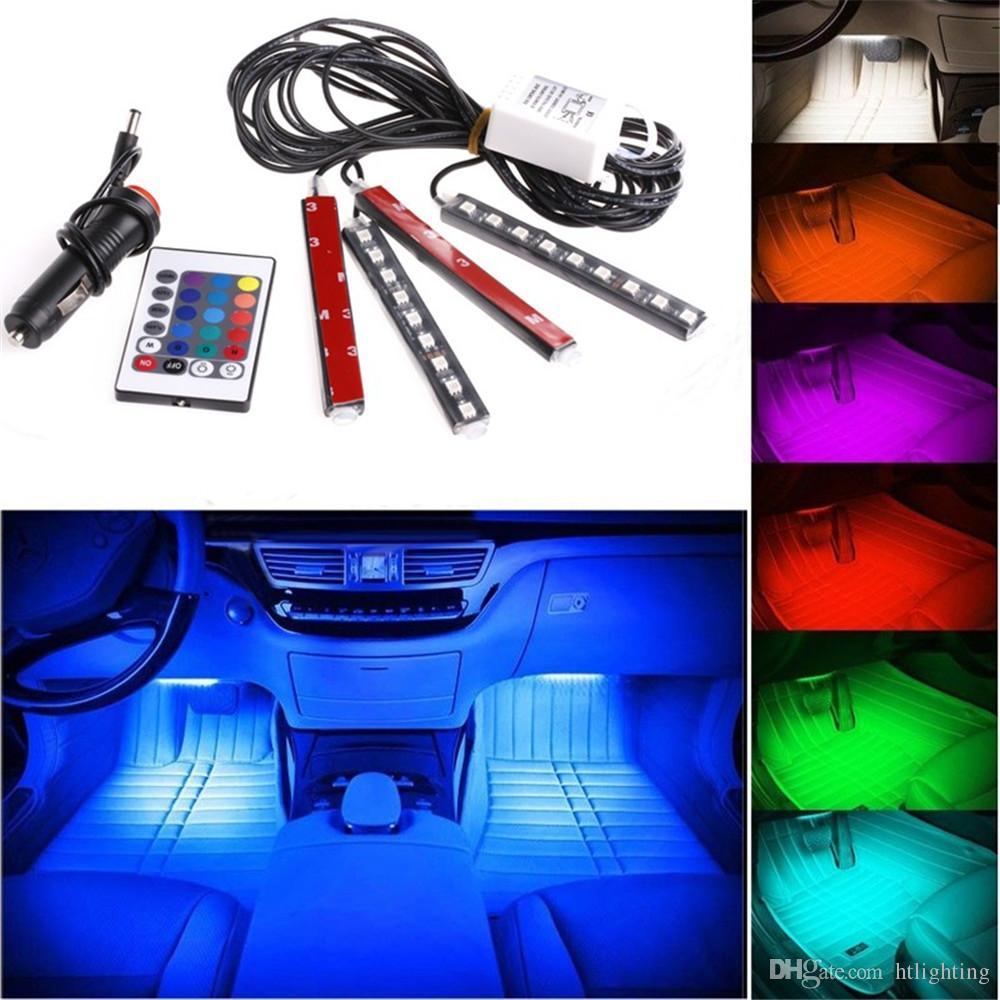 20 세트 12V 유연한 자동차 스타일링 RGB LED 스트립 라이트 분위기 장식 램프 자동차 인테리어 네온 빛 컨트롤러 담배 라이터