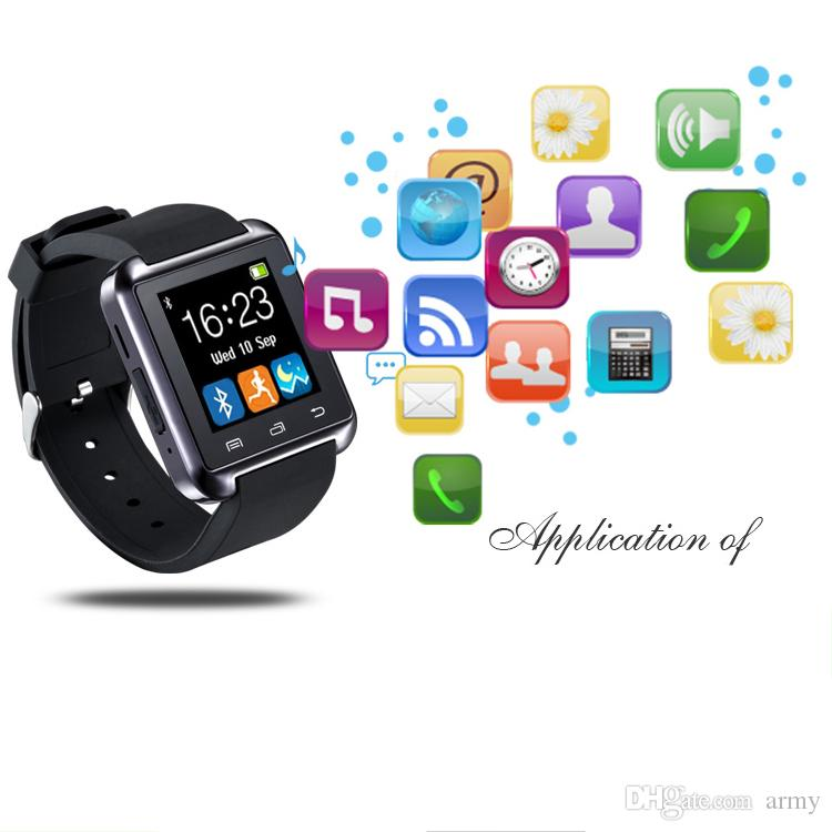U8 Bluetooth Smart Watch Uhr Armbanduhr Smartwatch für iPhone 4 4S 5 5S 6 6S 6 plus Samsung S4 S5 Hinweis 2 Hinweis 3 HTC Android-Smartphone-Smartphones