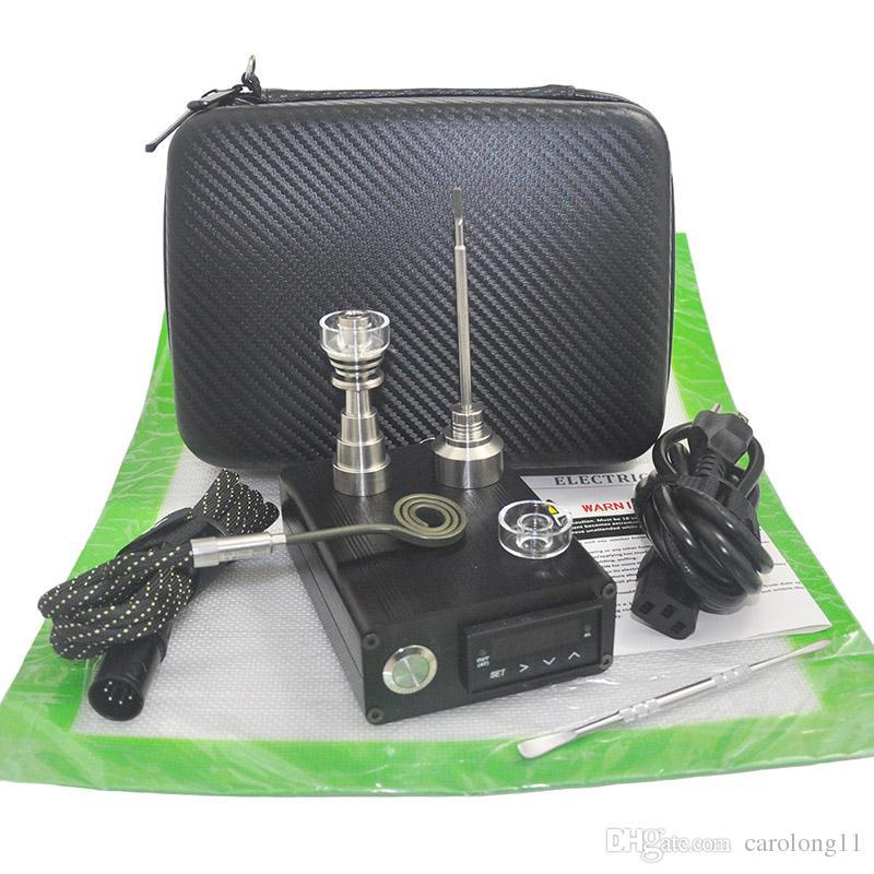 Hybride Titane Quartz E Dab Nail Dry Herb Vaporisateur Quartz Nail Électrique Dab Nail Kit Complet avec Contrôleur de Température 100 W Cire Stylo
