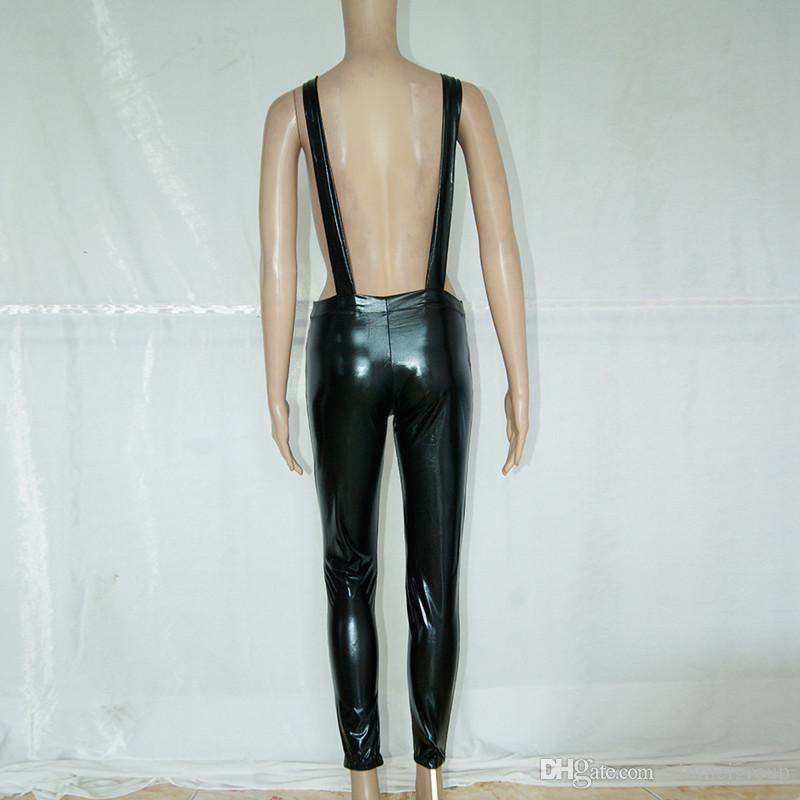 New Arrive Bib Short Casual Jumpsuit Vinyl Leather Pants Overalls Long Rompers Spring Autumn Jumpsuits W84437