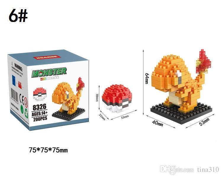 Al por mayor-Nuevos bloques de construcción de dibujos animados bloques de Pikachu asambleas de plástico Juguetes para niños Bloques de construcción de Navidad Bloques de juguete A0534