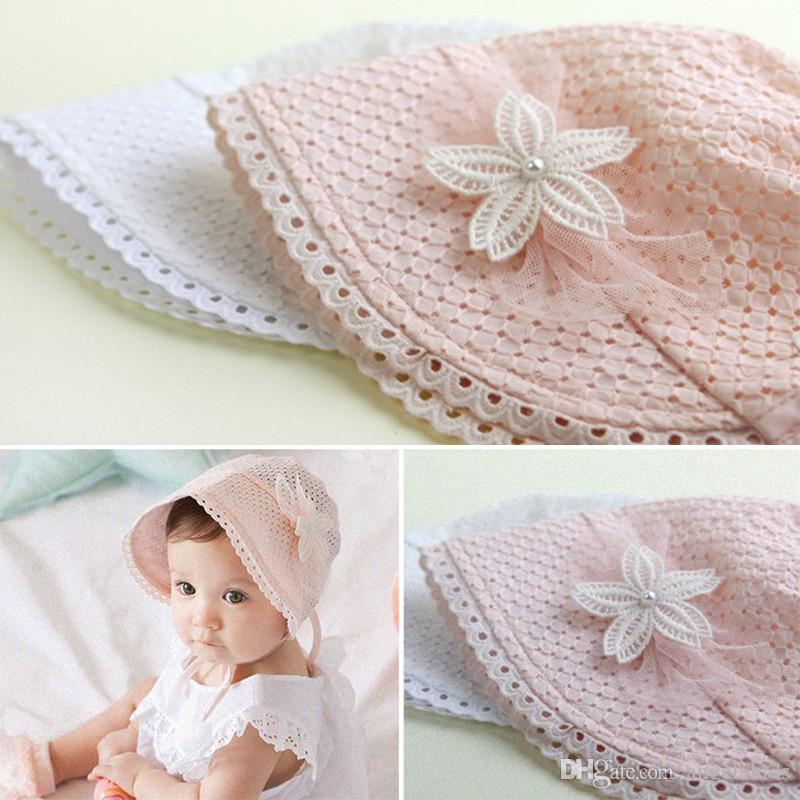 SUMMER HAT Spring Summer Baby Cap Sweet Cute Princess Hollow Out Baby Girls Hat Lace-up Beanie Cotton Bonnet Enfant Kids Lace Floral Caps