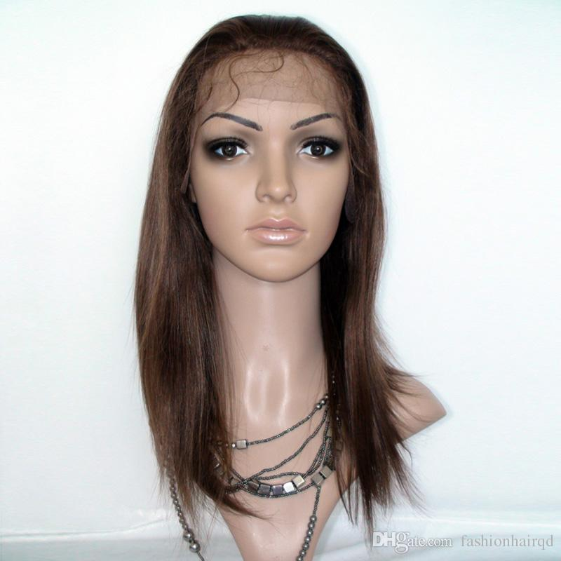#4 Brown Lace Front Wigs With Baby Hair Straight Glueless Full Lace Human Hair Wigs Free Part Brazilian Virgin Hair 8-24 inch