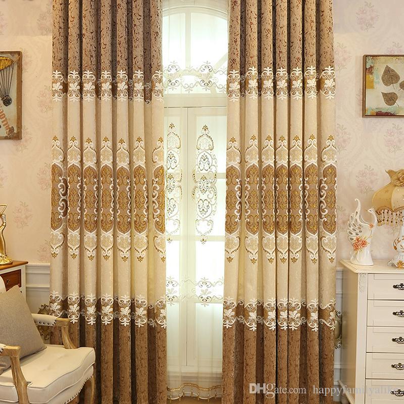 Großhandel Western Style Vorhang Blume Bestickte Muster Wohnzimmer  Schlafzimmer Fenster Schattierungen Französisch Fenster Vorhänge Großhandel  Meter Von ...