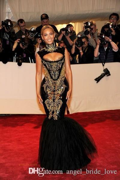 2017 Sıcak Satış Abiye giyim Beyonce Gala Siyah Ve Altın Nakış Boncuklu Yüksek Boyun Kat Uzunluk Mermaid Ünlü Elbiseleri WD1016