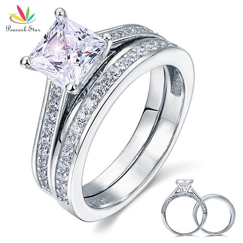 8d5c56c0f 2019 Peacock Star 1.5 Ct Princess Cut Created Diamond Solid 925 Sterling  Silver Wedding Promise Engagement Ring Set CFR8009S From Tao03, $36.19 |  DHgate.Com