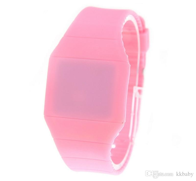LED Silicone Mens Plastic Rubber Ultra-Thin Touch Led Sports Watch Wrist Watch Electronic Digital Jelly Candy Unisex Men Women Gift Watches