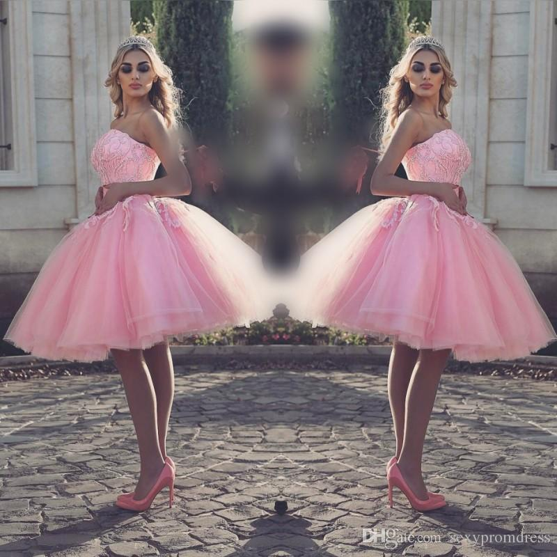Gorgeous Pink Strapless Short Prom Dresses Lace Up Appliques Beads ...