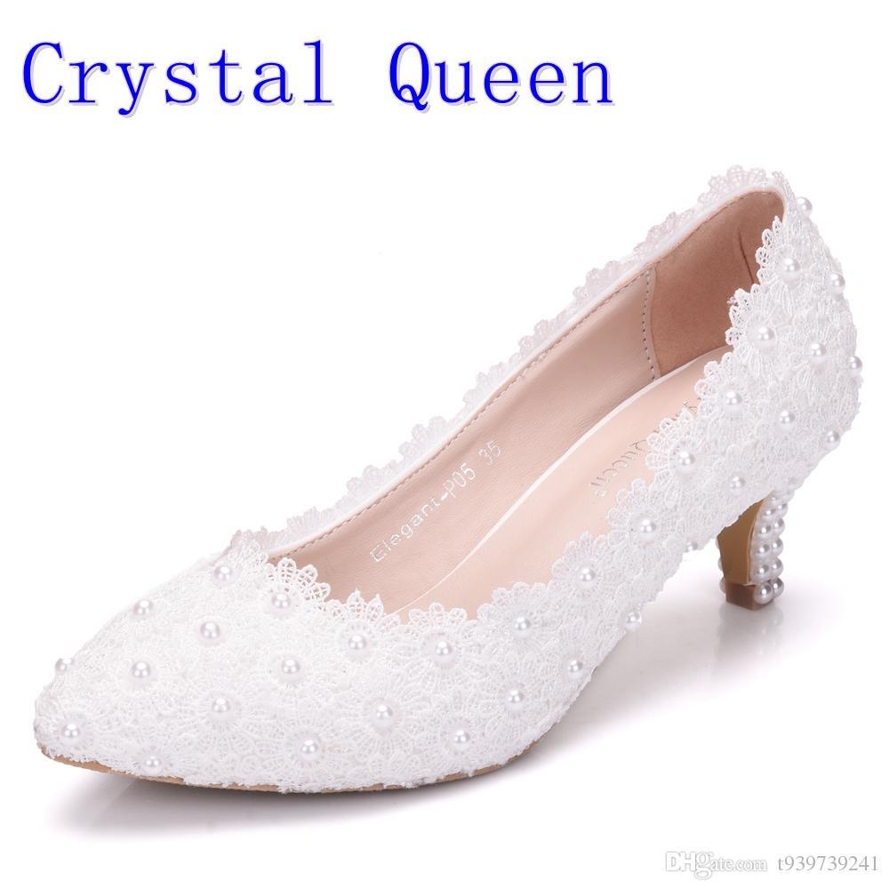 hot sale online a5cee 109ba Kristallkönigin Frauen Schuhe Weiße Spitze Hochzeitsschuhe 5 CM High Heels  Schuhe Weiße Spitze Süße Pumps Prinzessin Party Heels