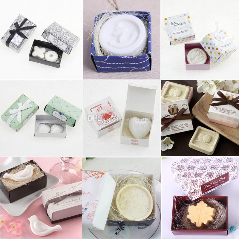 10 unids favores de la boda del jabón con la caja de regalo Baby Shower ancla del regalo de la fiesta de Navidad / botón / Shell / Dove / Maple Leaf