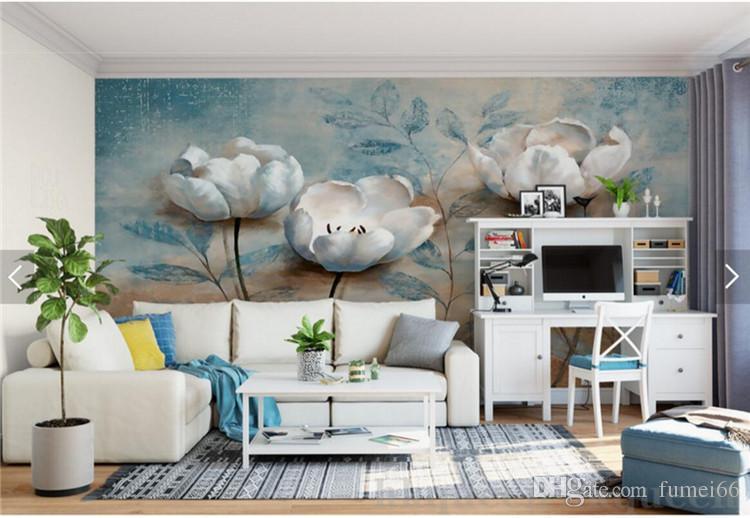 Europäische Vintage Floral Wand Papier Wandbild Geprägte Blaue Blume Foto Tapeten für Wohnzimmer Wandkunst papel de parede madeira