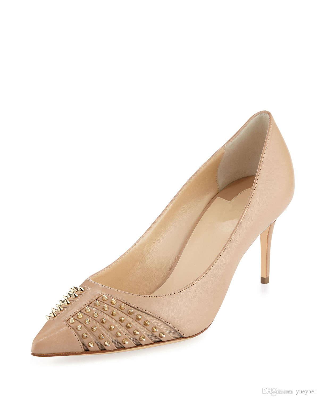Zandina Femmes Dames 65mm Talons Hauts Pompes Rivets Pointes Bout Pointu Robe De Soirée Stiletto Chaussures Nu K326