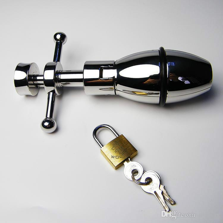 Wholesale - Locking Anal Pear Toys Butt Plug Stopper Adult Games BDSM Bondage Gear Slave Trainer Fetish Pleasure Sex Products for him her X