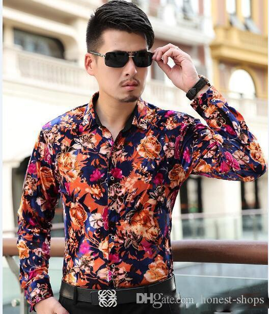a986cde5c87 Wholesale-Wholesale-Mens Floral Shirts New Arrival Long Sleeve Men Casual  Shirt Plus Velvet Thick Shirt Male Fashion Red Black Outing W Online with  ...