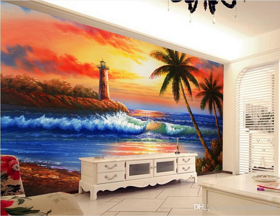 Großhandel Wallpaper Für Kinder Schlafzimmer Custom Beach Kokosnuss ...
