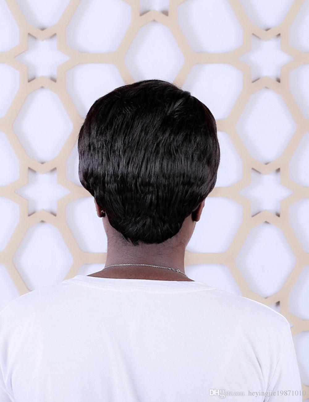 Xiu Zhi Mei 6 inç 4 # Koyu Kahverengi Kısa Saç Siyah Kadınlar Için peruk Isıya Dayanıklı Sentetik Düz Doğal Anne Peruk Saç