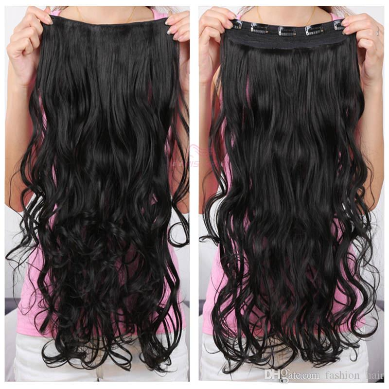 New style blond clip in hair extensions 130g synthetic hair wavy curly thick one piece for full head Excellent quality