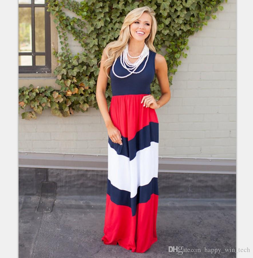 c66774aa1cf4 Mother Daughter Summer Long Dress Women Sleeveless Halter Waves Red White Navy  Blue Striped Dress Beach Party Maxi Dress Gown Casual Dresses From ...