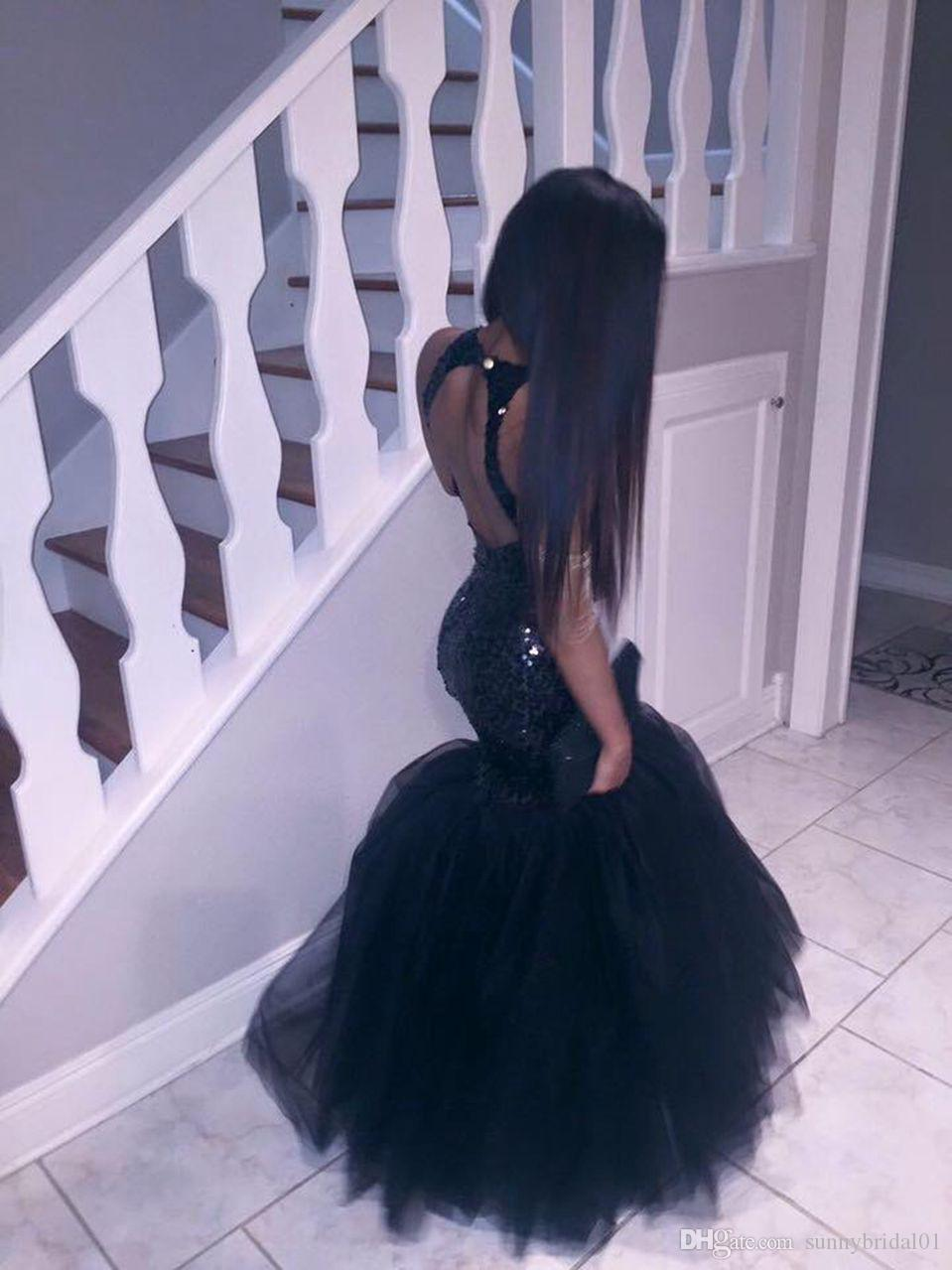 Black Girl Plus Size Mermaid African Prom Dresses Long 2017 Tulle Sequined Sexy Backless Formal Party Gowns Cheap Evening Dress Oscar