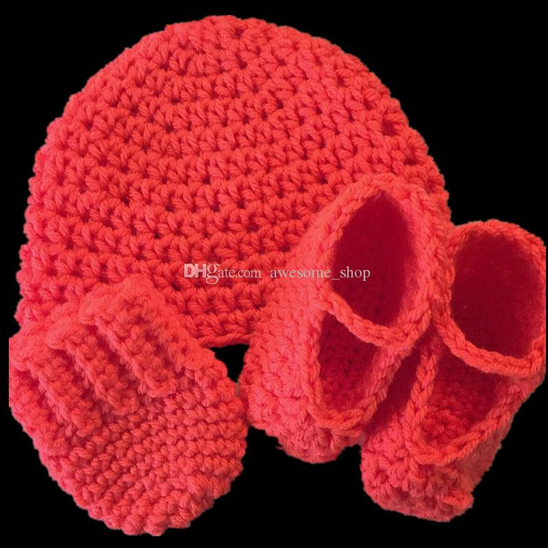 Lovely Newborn Costume,Handmade Knit Crochet Baby Boy Girl Red Hat,Booties,and Mittens Set,Baby Gift Set,Toddler Photo Prop