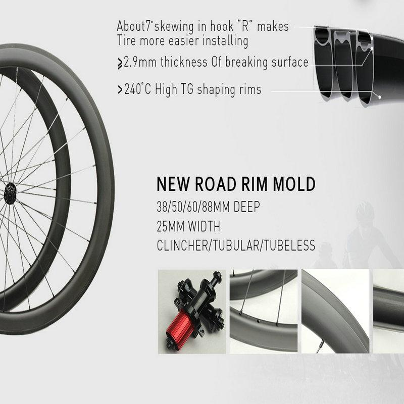 1 year warranty 38mm grey decal road bike carbon wheels 700C clincher/tubular bicycle carbon wheels 23mm width with ceramic bearing hubs