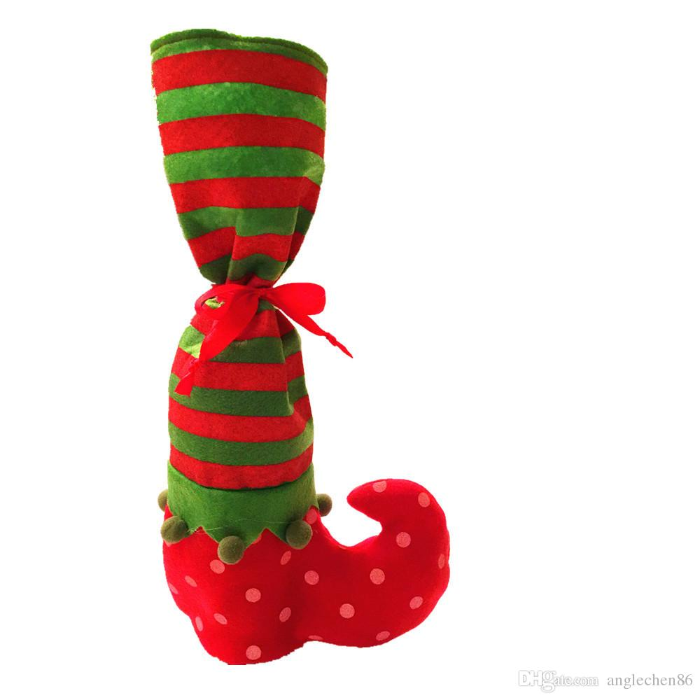 2017 New Christmas Stocking Red Wine Bottle Cover Bags Christmas Gift Bag Dinner Table Decoration Party XMAS Decors Stocking Wholesale