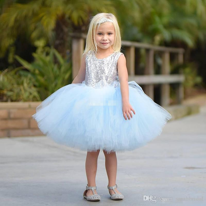 Cute Short Baby Child Wedding Party Dress Puffy Tutu Lilac Mint Silver Sequins with Bow 2019 Cheap Flower Girls' Dresses Knee Length