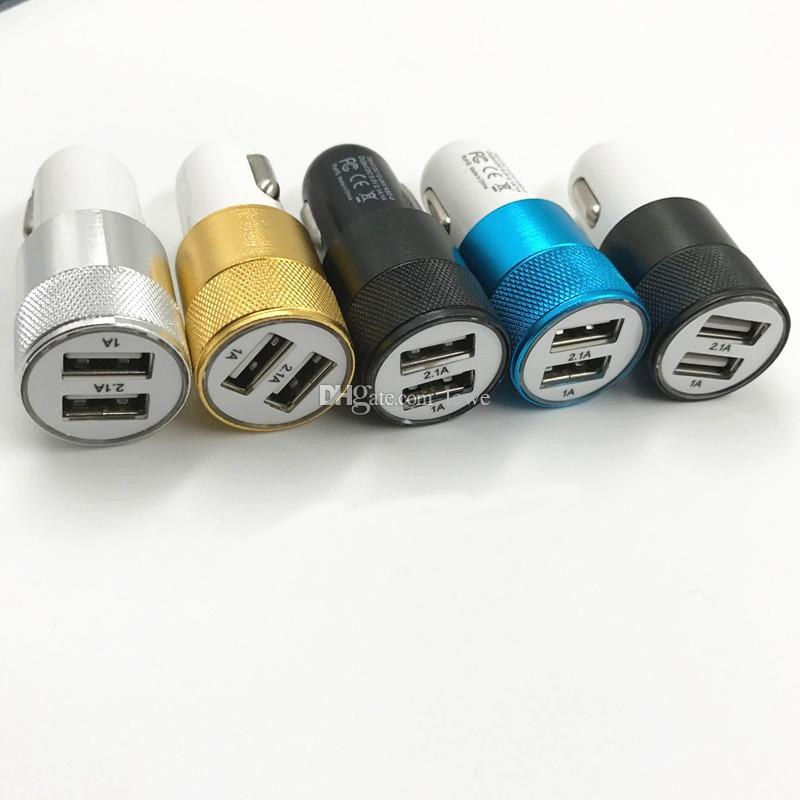 Car USB Charger Aluminum Cycle 5V 1A Dual 2 USB port Car Adaptor free shiipping