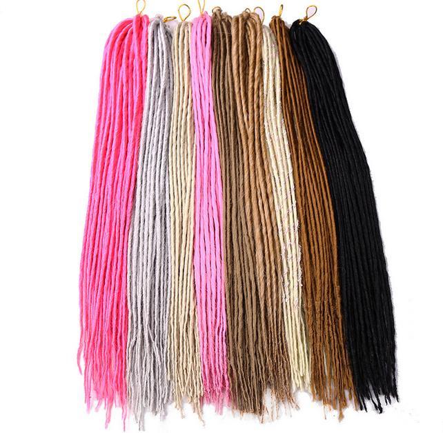 1 confezione 24 fili dreadlocks 20inch intrecciatura sintetica dei capelli estensione trecce capelli bianco rosa biondo colore nero