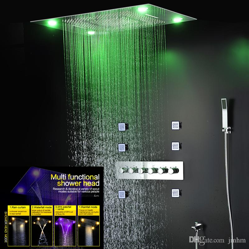 2018 Modern Led Shower Head Set Luxury Ceiling Waterfall Large Rain Shower  Fall Thermostatic Mixer Shower Faucets From Jmhm, $1506.14 | Dhgate.Com