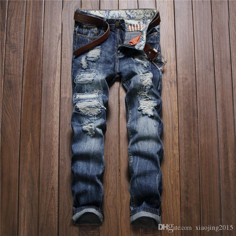 bf45b35637953 Mens Fashion Hippop Vintage Ripped Blue Denim Jeans Destroyed Slim ...
