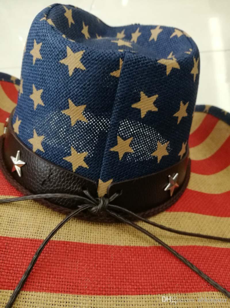 Bandera americana hecha a mano unisex del verano del vaquero de paja Sombrero de sol con correa de cuero EE.UU. salvaje ala casquillos para hombres y mujeres