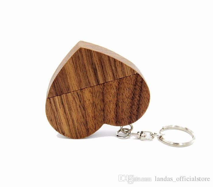 DHL nave personalizzare natrual Pendrive in legno 4 GB 8 GB 16 GB 32 GB cuore USB Flash Drive U disk Memory Stick USB la fotografia regalo di nozze