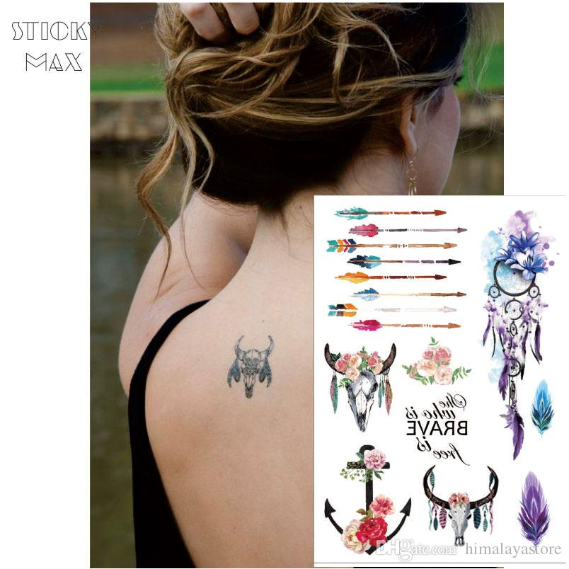W12 Flower Crown Boho Chic Cow Head Temporary Tattoo With Anchor