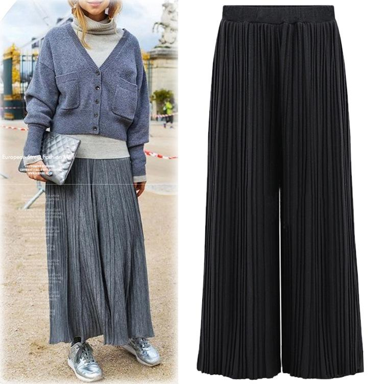 558a1b59cb2 2019 2017 New High Waisted Pleated Trousers Thin Wide Leg Slacks All Match  Pants From Hsk888