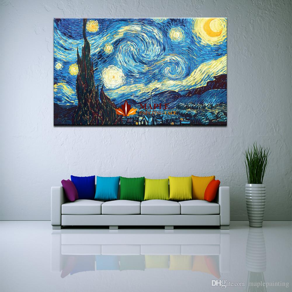 Starry Night by Vincent Van Gogh Giclee Fine Art Print on Canvas Home Decor Wall Art Painting Modern Abstract Oil Painting Printed On Canvas