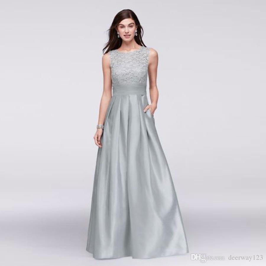 Lace And Satin Sleeveless Ball Gown With Pocket Full Pleated Satin ...