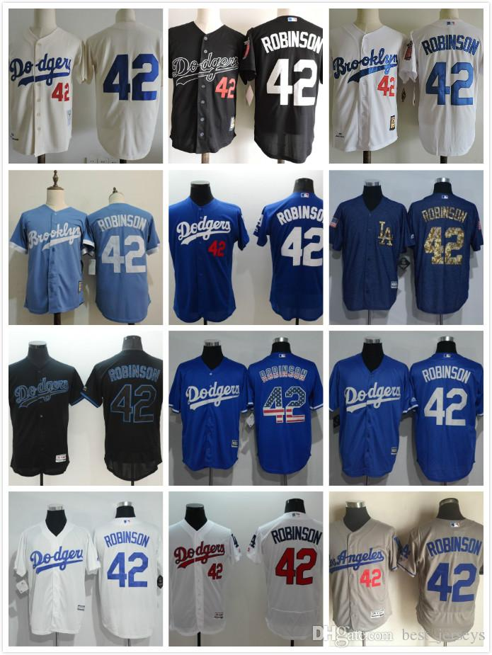 ... 2017 2017 Los Angeles Dodgers 42 Jackie Robinson White Blue Cream Black  Gray Flexbase Coolbase Jersey . c64321c56f9