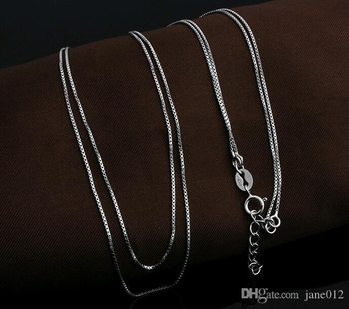0.8mm 925 Solid Sterling Silver Chain 16inch 18inch Box Chain Necklace Jewelry Accessories YL01004