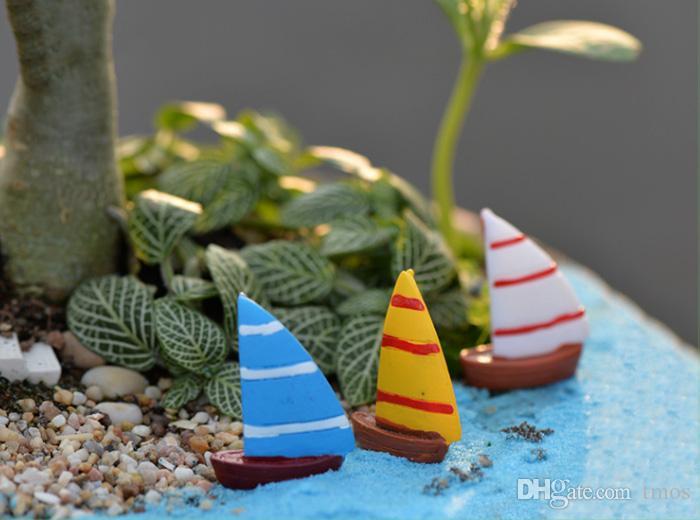 3 renk 3 boyutları mini yaratıcı reçine yelkenli tekne bahçe dekor peri minyatür resim için diy konut peyzaj dekor leri ücretsiz shiping