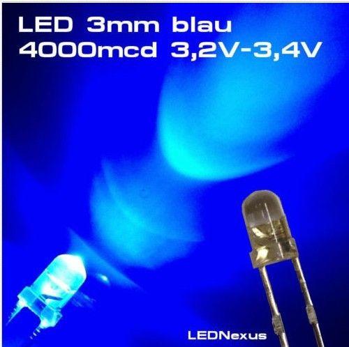 1000PCS LED 3MM BLUE COLOR BLUE LIGHT Super Bright