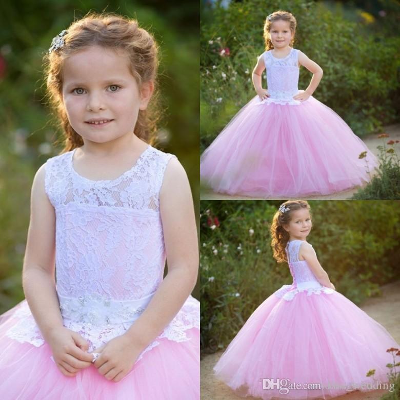 Großhandel Nette Kinder Prinzessin Ballkleider Pink Und Weiß Kids ...