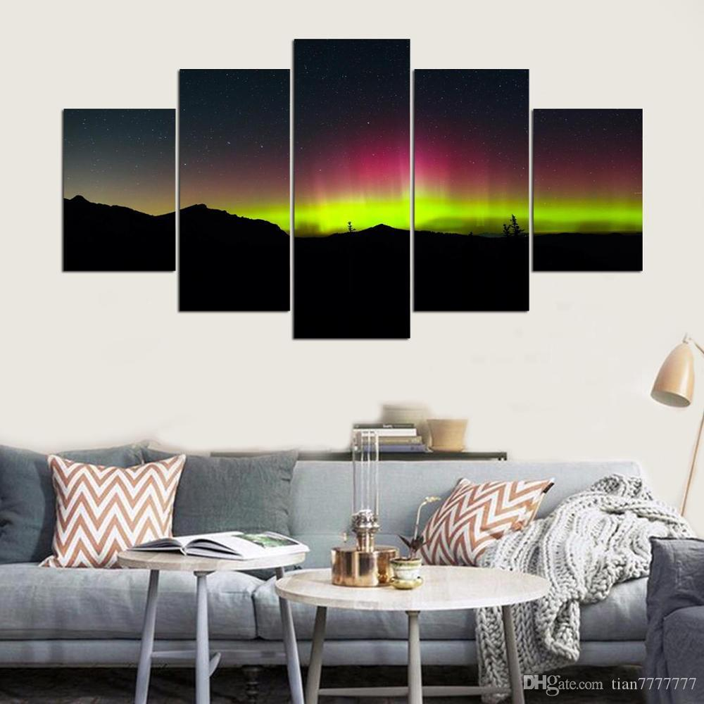 New bright and colorful Northern Lights Scenery Painting 5 Panel Unframed Modern Canvas Print Group Pictures For Home decor Wall art