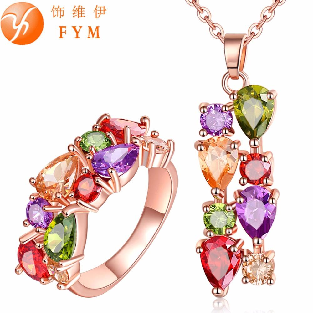 2018 Casi Womens Colorful Rose Gold Plated Jewelry Sets More For