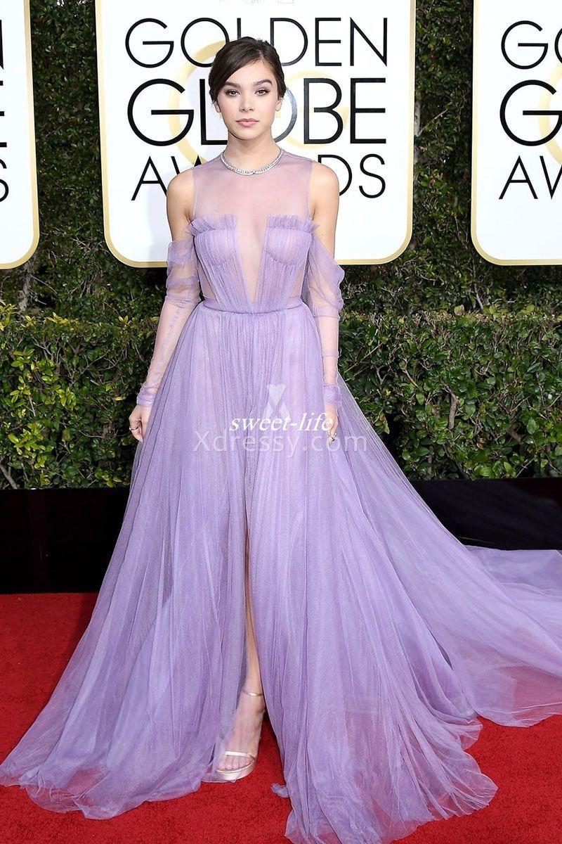 2017 Hailee Steinfeld Light Purple Evening Dresses With Pleats O ...