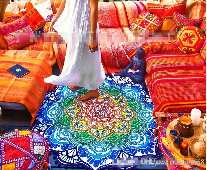 Unisex Verão Fino Rodada Mandala tapeçaria Hippie Pareo boho Tapeçarias Envoltório xale Jogue cobertor Toalha Mat Beach Cover Up Cachecol G395
