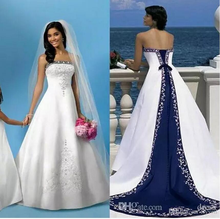 Discount Elegant Wedding Dresses With White And Blue Satin,Royal ...