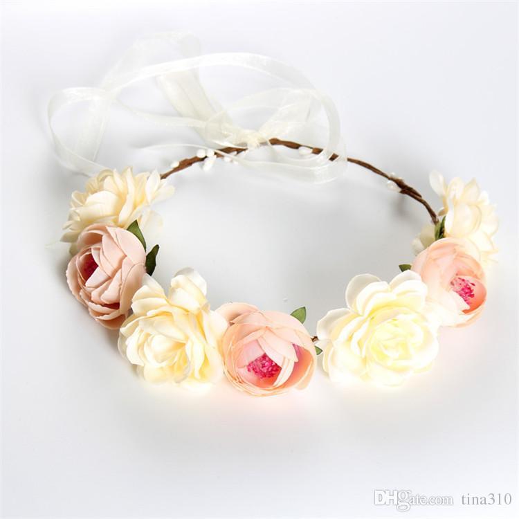 New fashion Bohemia Handmade Flower Crown Wedding Bridal Wreath Copricapo turistico da spiaggia Fiori fascia capelli IA673