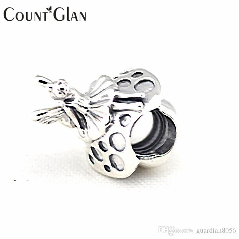 925 Sterling Silver Forest Fairy Beads Fits Pandora Original Charms Bracelet Metal DIY Necklace Beads Sterling Silver Jewelry