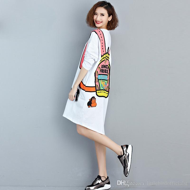 Plus Size Women T-Shirt Autumn White Dress Kawaii Cartoon Pattern Print Cotton Fashion Female Big Size Young European Tops&Tees